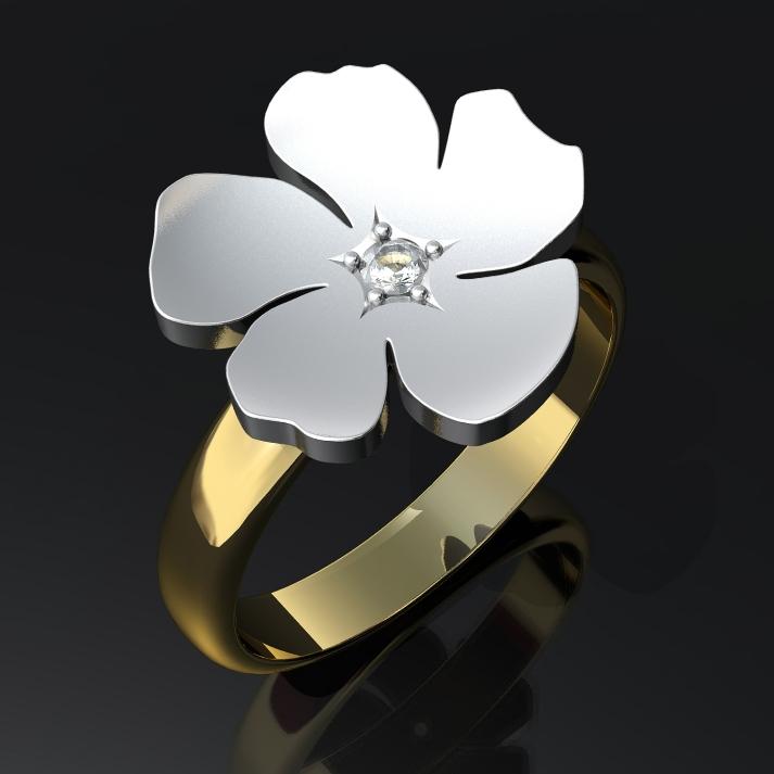 Kukka-sormus, kulta, valkokulta