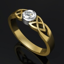 Kelttisormus timantilla
