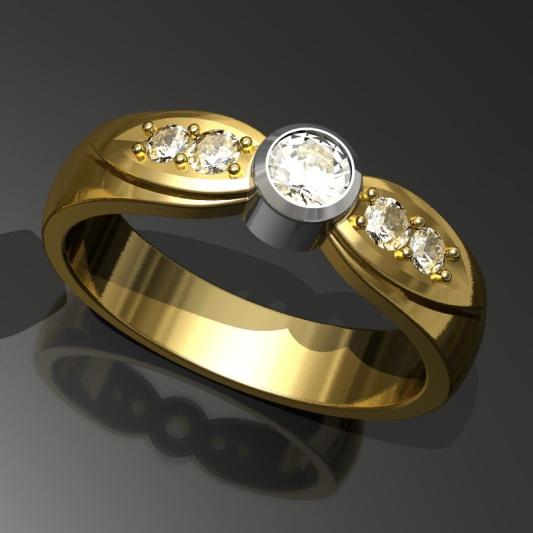 Kultainen vihkisormus timanteilla