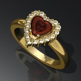 Sydänsormus, granaatti, timantit.